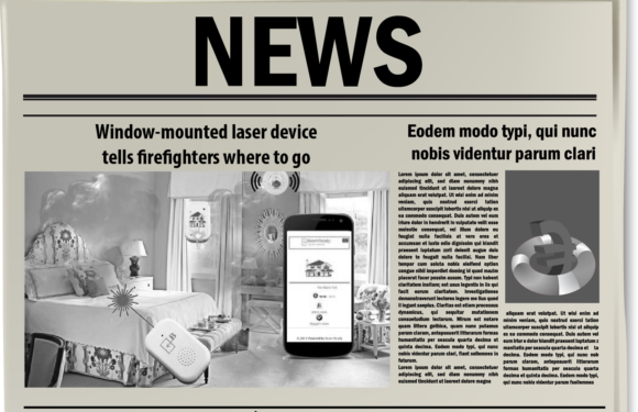 Window-mounted laser device tells firefighters where to go